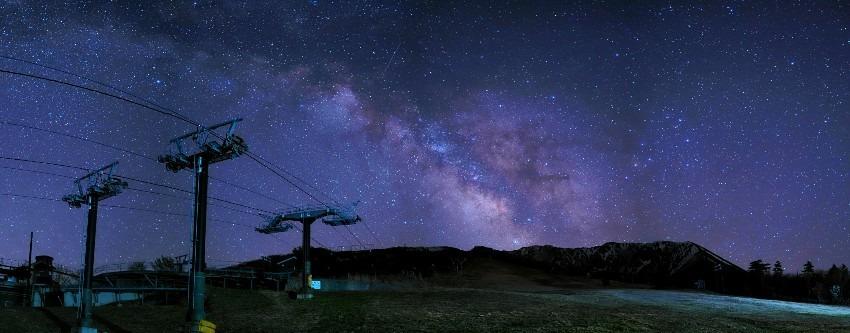 春の大山で見た星空